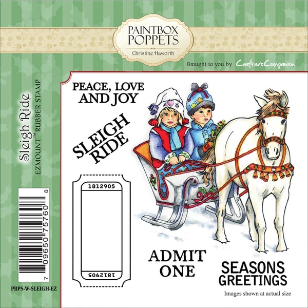 "Paintbox Poppets Winter EZMount Stamps 4.75""x4.75""-Sleigh Ride"