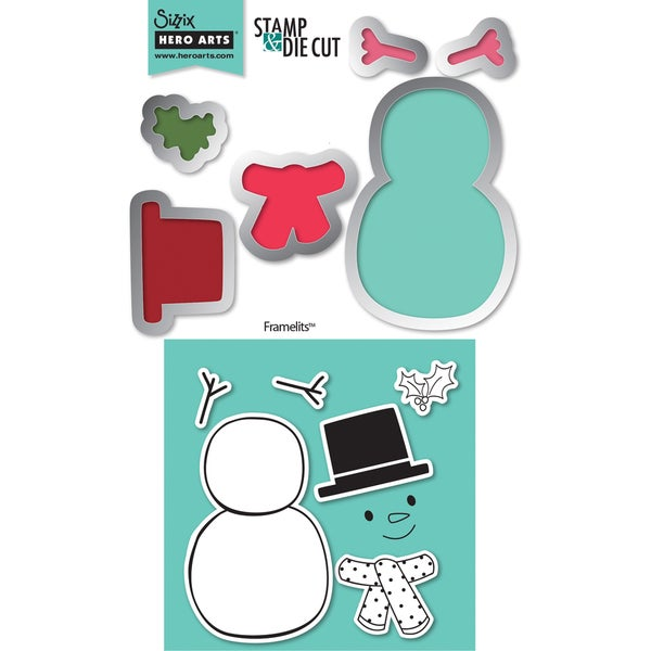 Sizzix Framelits Dies 6/Pkg With Cling Stamps-Snowman #2