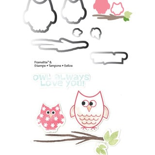 Sizzix Framelits Dies 6/Pkg With Cling Stamps-Autumn Owls