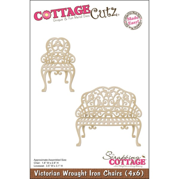 """CottageCutz Die 4""""X6""""-Wrought Iron Chairs Made Easy"""