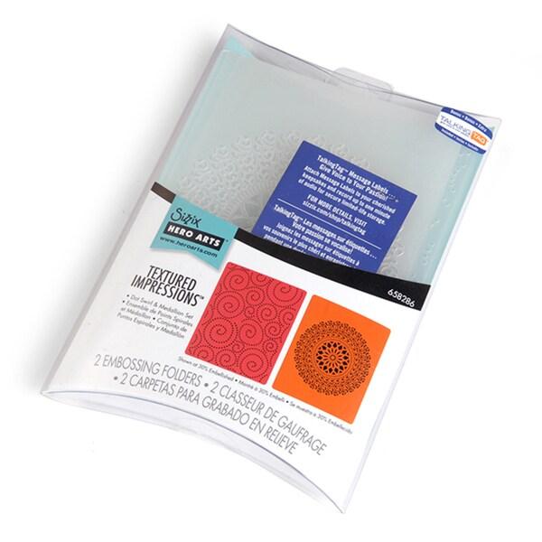 Sizzix Textured Impressions Embossing Folders 2/Pkg-Hero Arts Dot Swirl & Medallion