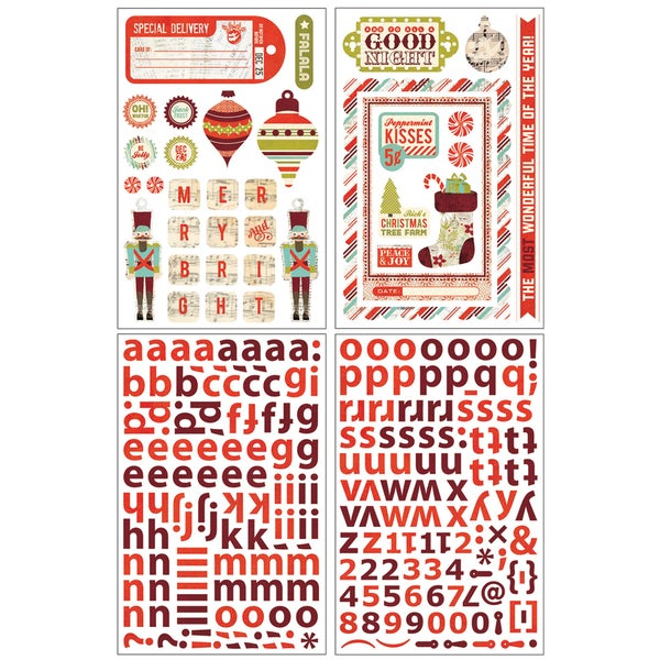 Aspen Frost Die-Cut Chip Stickers 4 Sheets-Shapes & Alphas