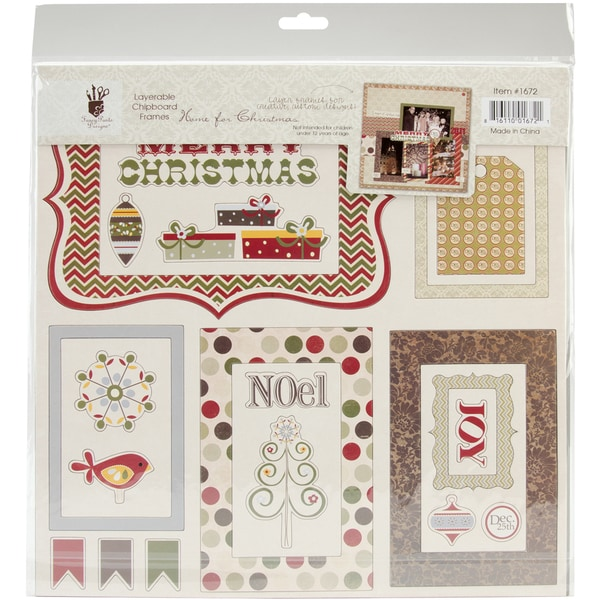 Home For Christmas Chipboard Frames-