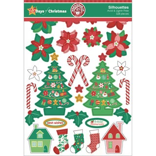Ruby Rock-It 25 Days Of Christmas Silhouettes Die-Cuts 328/Pkg-Assortment Of Printed, Kraft & Glitter