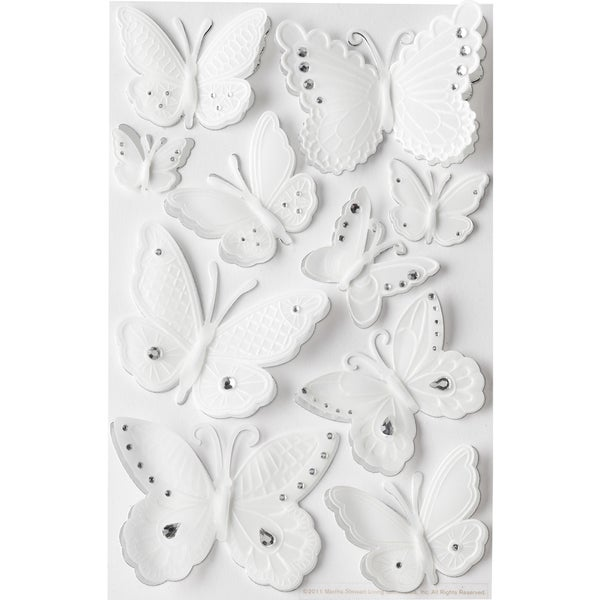 Martha Stewart Embossed Stickers With Gems-Butterflies