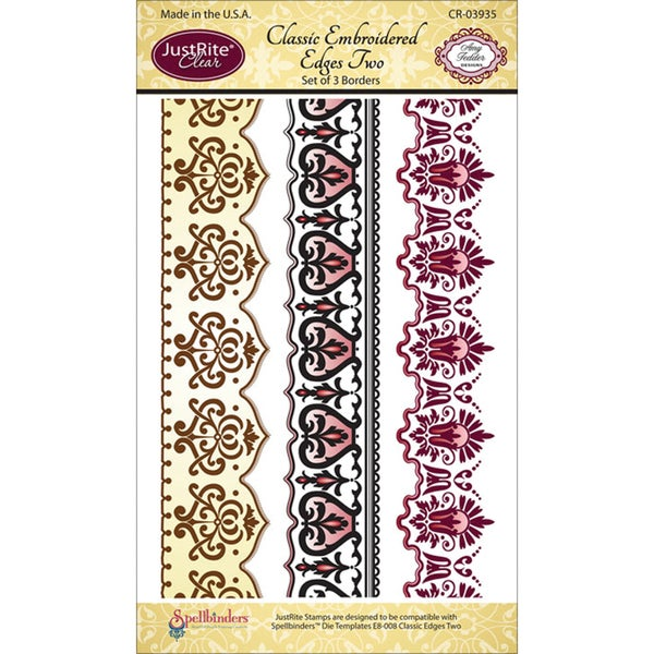 JustRite Stampers Clear Stamp Set-Classic Embroidered Edges Two 4pc