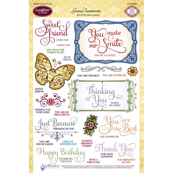 """JustRite Stampers 6""""x8"""" Clear Stamp Set-Grand Sentiments 36pc"""