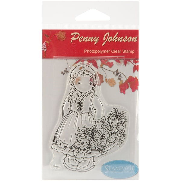 Stampavie Penny Johnson Clear Stamp-Gretchen's Winter Basket 3-1/2""