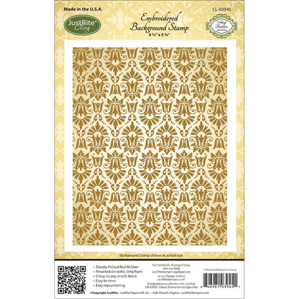 """JustRite Stampers Cling Background Stamp 4-1/2""""X5-3/4""""-Embroidered"""
