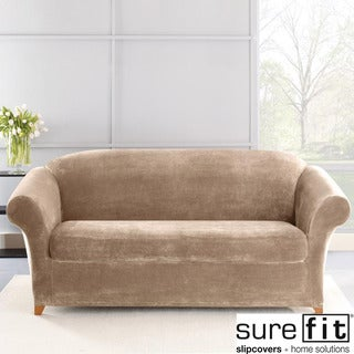 Sure Fit Stretch Plush Sable Sofa Slipcover
