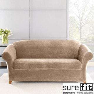 Sure Fit Stretch Plush Sable Sofa Slipcover