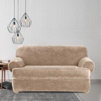 Sure Fit Stretch Plush Sable T-Cushion Loveseat Slipcover