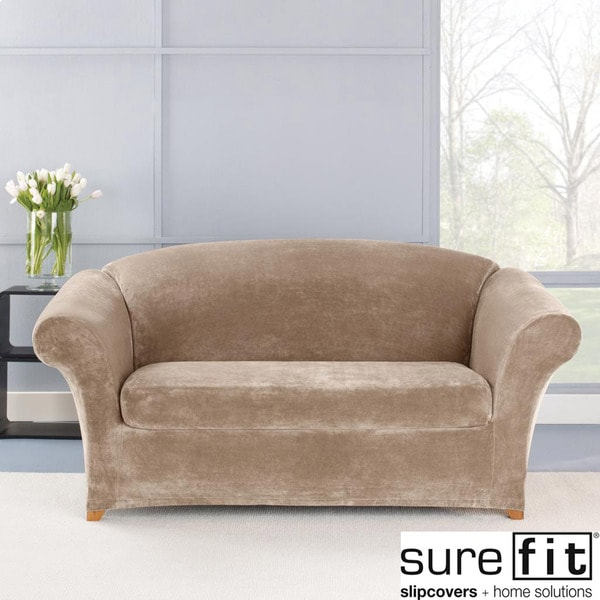 Sure Fit Stretch Plush Sable Loveseat Slipcover Free