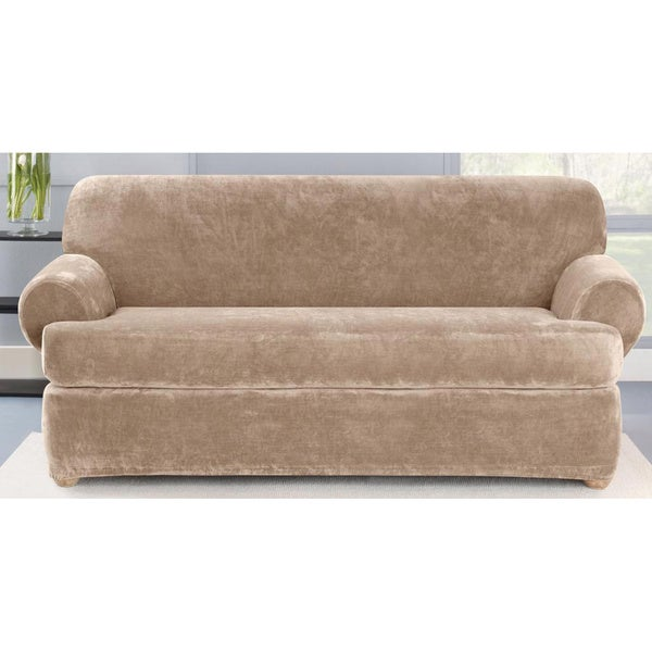 Sure Fit Stretch Plush Sable T-Cushion Sofa Slipcover