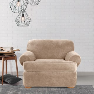 Sure Fit Stretch Plush Sable T-Cushion Chair Slipcover