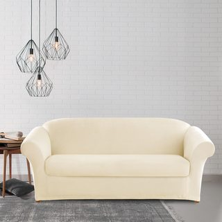 Sure Fit Stretch Plush Cream Sofa Slipcover