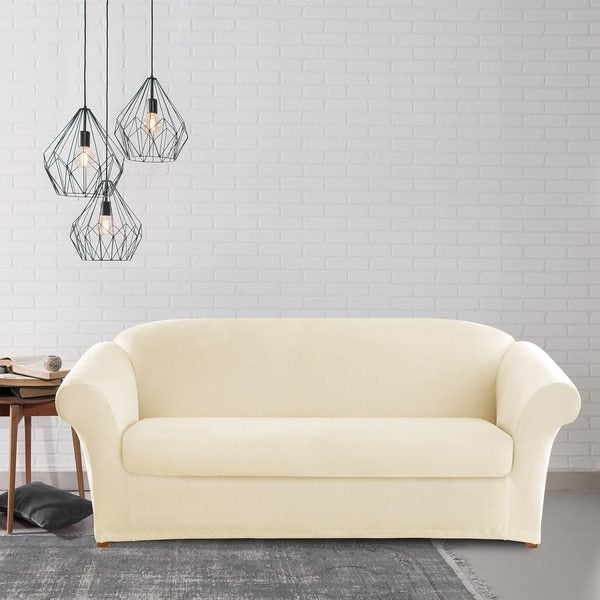 Sure Fit Stretch Plush Cream Sofa Slipcover