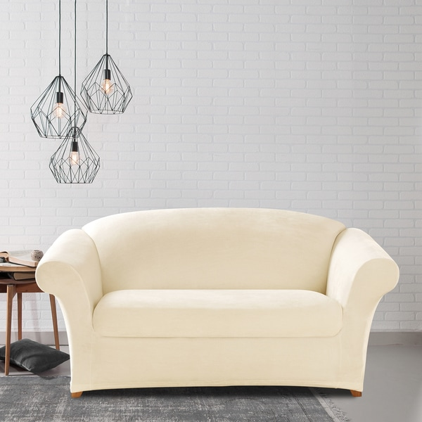 Sure Fit Stretch Plush Cream Loveseat Slipcover