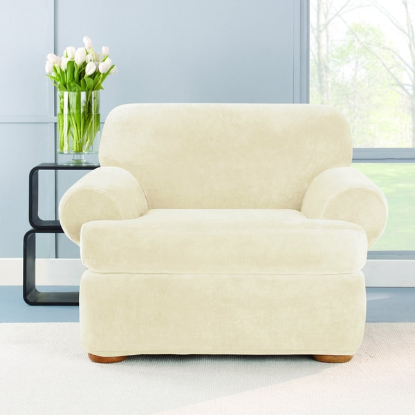 sure fit stretch plush cream t cushion chair slipcover free shipping