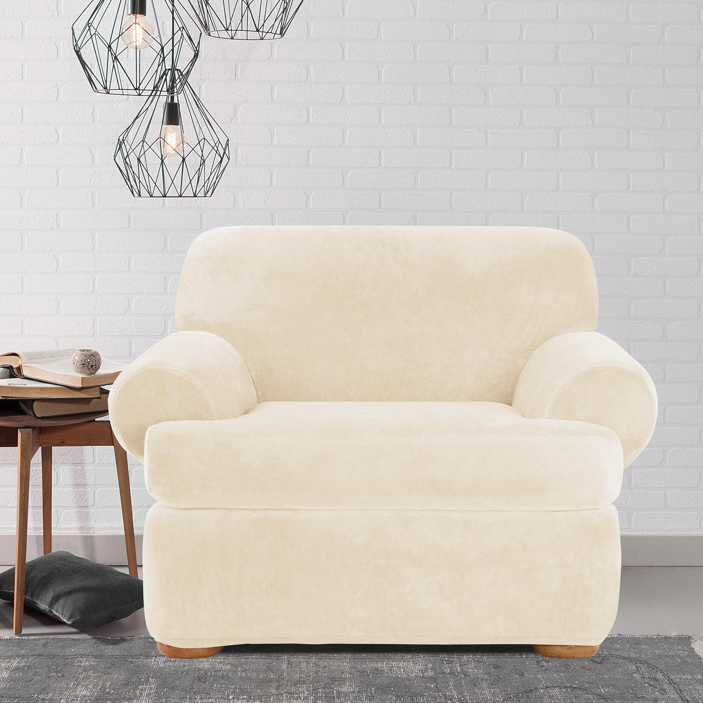 Sure Fit Stretch Plush Cream T Cushion Chair Slipcover