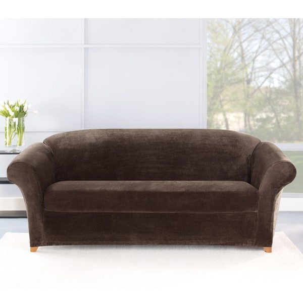 Sure Fit Stretch Plush Chocolate Sofa Slipcover