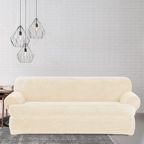 Sure Fit Stretch Plush Cream T-Cushion Sofa Slipcover