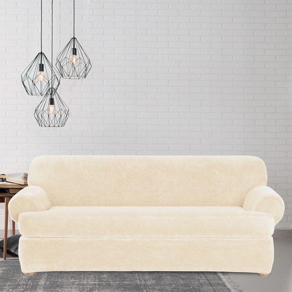 Shop Sure Fit Stretch Plush Cream T Cushion Sofa Slipcover