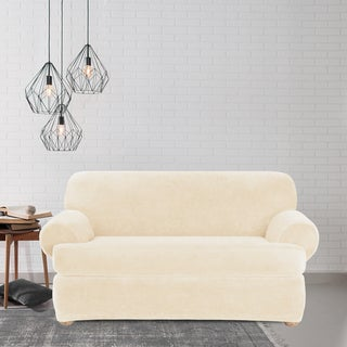 Sure Fit Stretch Plush Cream T-cushion Loveseat Slipcover
