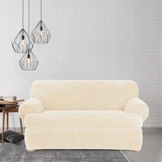 Sure Fit Stretch Plush Cream T-cushion Loveseat Slipcover