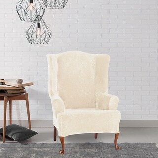 Sure Fit Stretch Plush Cream Wing Chair Slipcover