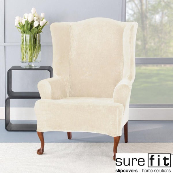Sure Fit Stretch Plush Cream Wing Chair Slipcover - 14975964