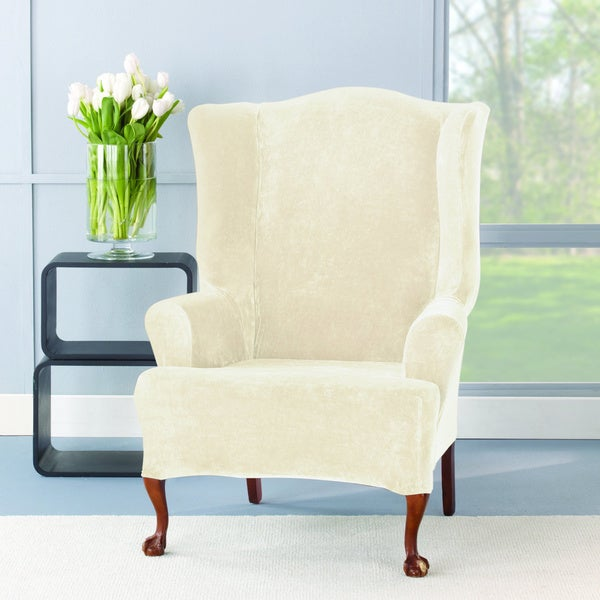 Sure Fit Stretch Plush Cream Wing Chair Slipcover - Free ...