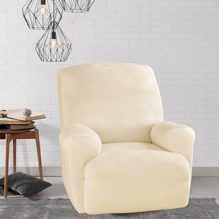 Sure Fit Stretch Plush Cream Recliner Slipcover