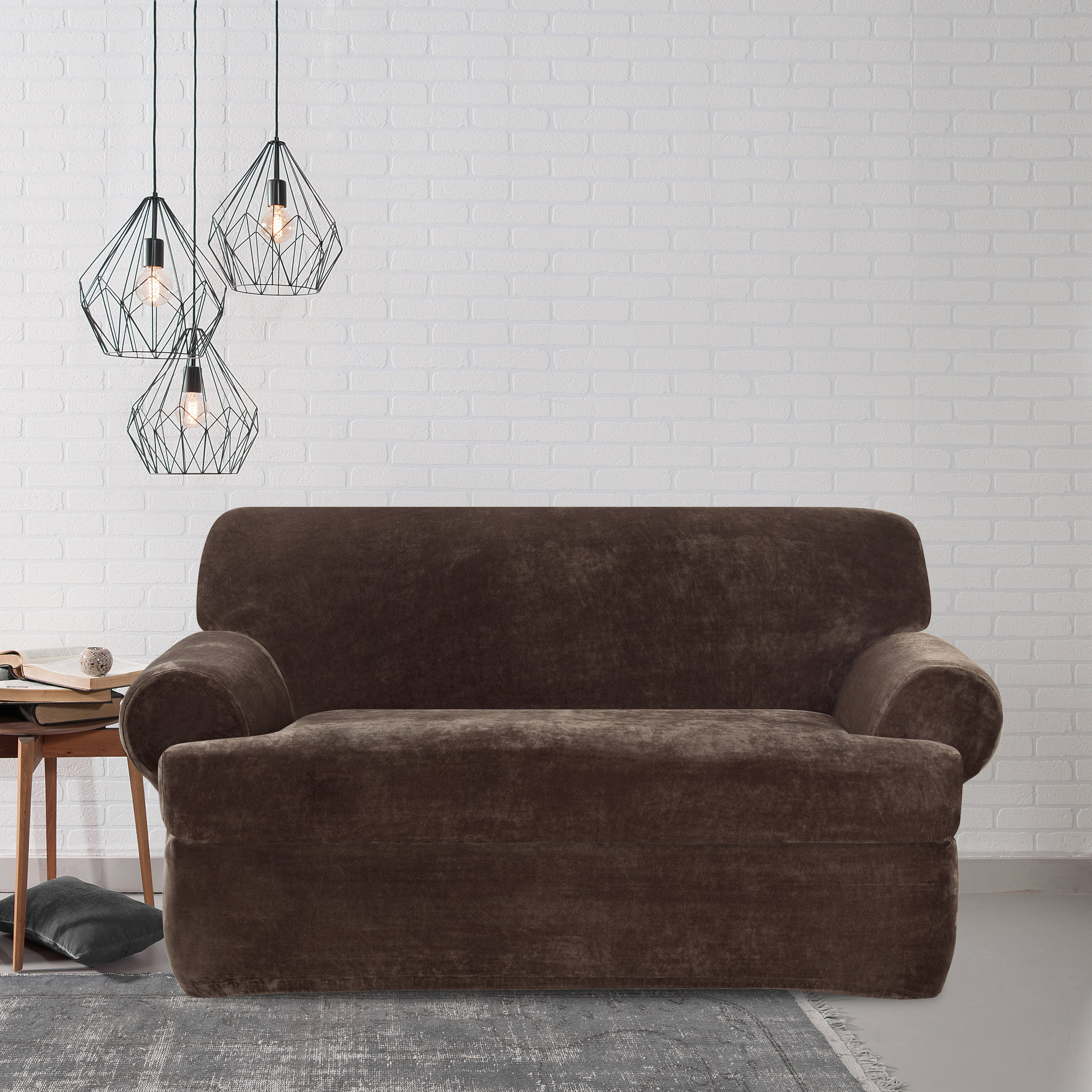 Magnificent Sure Fit Stretch Plush Chocolate T Cushion Loveseat Slipcover Short Links Chair Design For Home Short Linksinfo