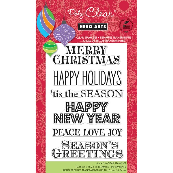 """Hero Arts Clear Stamps 4""""x6"""" Sheet-Greetings For The Holiday"""