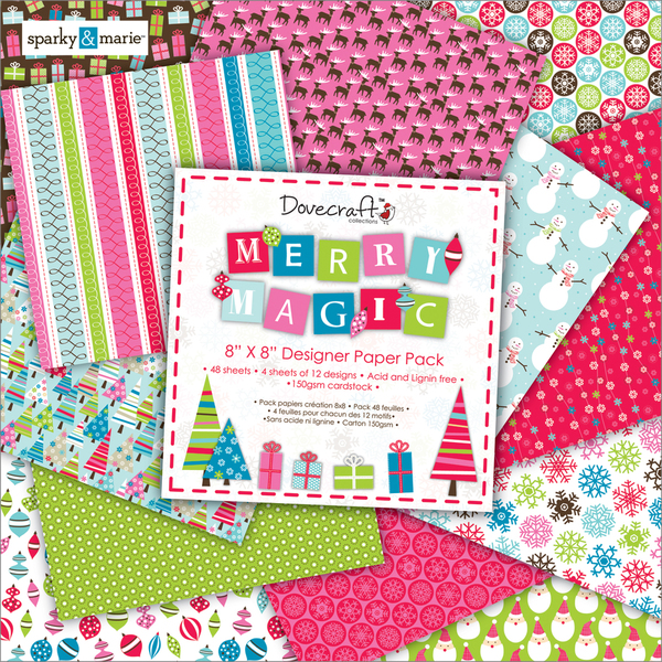 """Merry Magic Paper Pack 8""""X8"""" 48 Sheets-12 Designs/4 Each"""