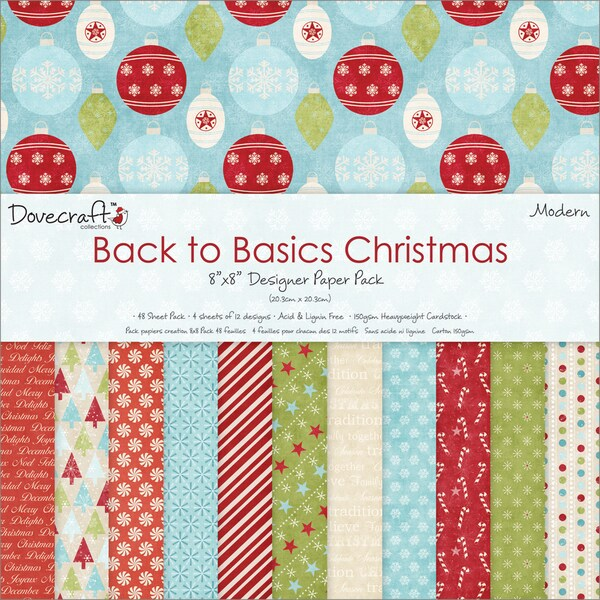 "Back To Basics Christmas Paper Pack 8""X8"" 48 Sheets-Modern - 12 Designs/4 Each"