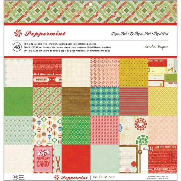 "Crate Paper Paper Pad 12""X12"" 48/Sheets-Peppermint, 24 Designs/2ea"