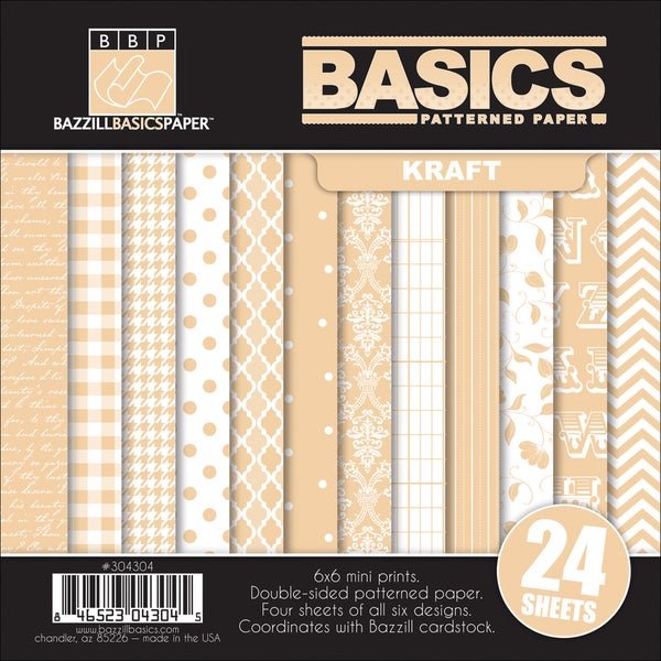 "Basics/Kraft Multi-Pack Paper 6""X6"" 24/Sheets-6 Double-Sided Designs/4 Each"