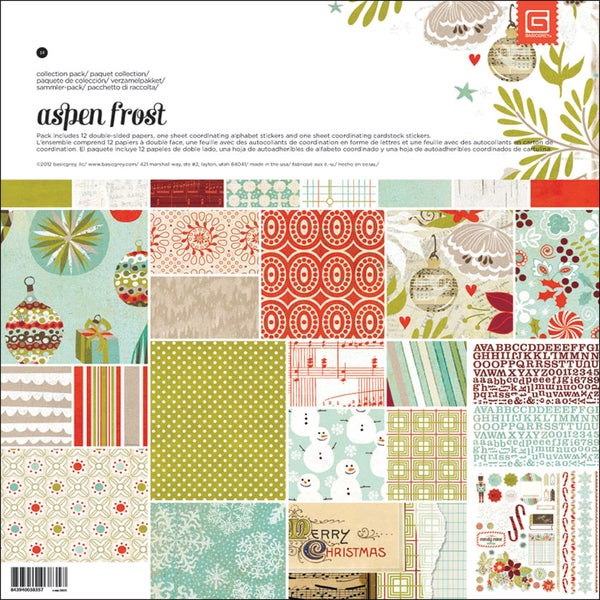 """Aspen Frost Collection Pack 12""""X12""""-1 Alpha & 1 Element Stickers + 12 Papers"""