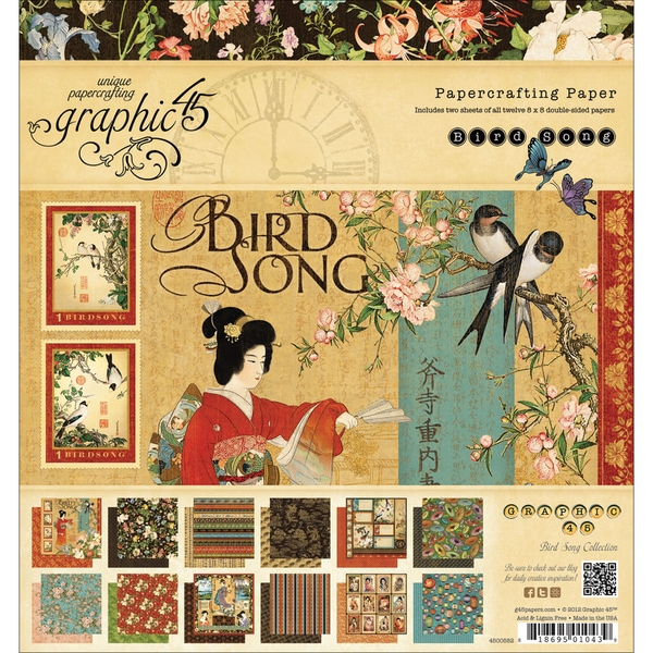 "Bird Song Double-Sided Paper Pad 8""X8""-24 Sheets - 12 Designs/2 Each"