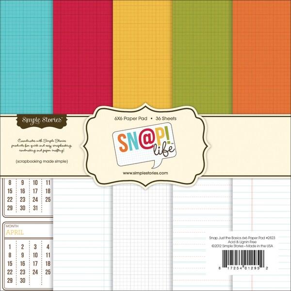 """Sn@p! Life Basics Paper Pad 6""""X6"""" 36 Sheets-"""