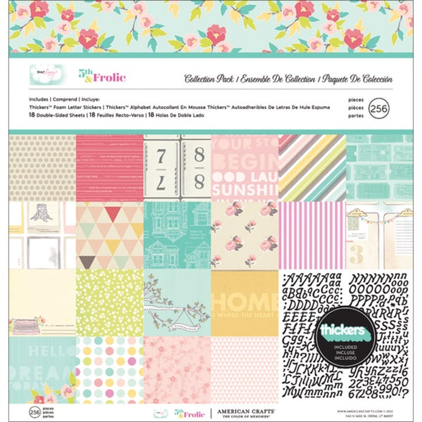 """Dear Lizzy 5th & Frolic Collection Pack 12""""X12""""-18 Double-Sided Papers + Alpha Thickers"""