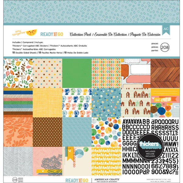 """Amy Tangerine Ready Set Go Collection Pack 12""""X12""""-18 Double-Sided Papers + Alpha Thickers"""
