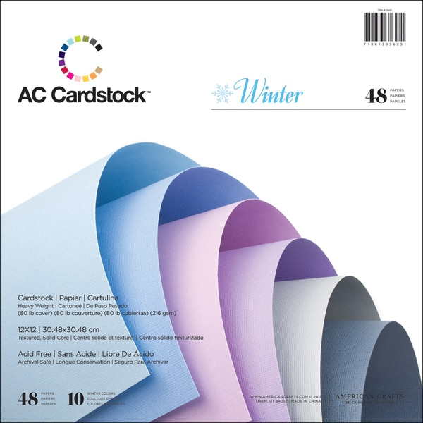 "American Crafts Cardstock Pack 12""X12"" 48/Pkg-Winter"
