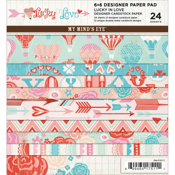 """Lucky In Love Designer Paper Pad 6""""X6"""" 24/Sheets-12 Double-Sided Designs/2 Each"""