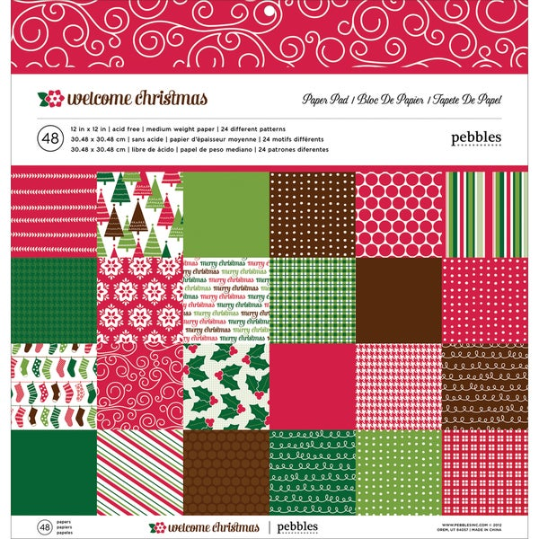 "Pebbles Paper Pad 12""X12"" 48/Sheets-Welcome Christmas, 24 Designs/2ea"