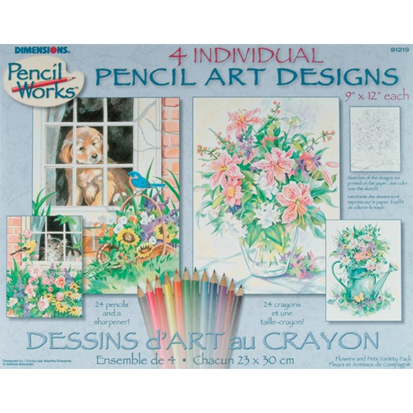 Pencil By Number Kit-Set of 4: Cat, Dog, Floral