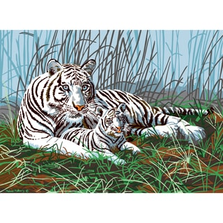"""Junior Large Paint By Number Kit 15-1/4""""X11-1/4""""-White Tigers In The Mist"""