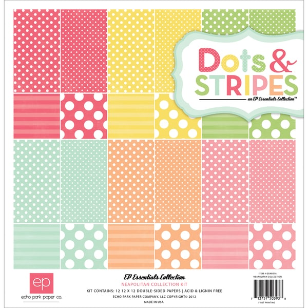 "Dots & Stripes 3 Neapolitan Collection Kit 12""X12""-12 Double-Sided Cardstock Sheets"